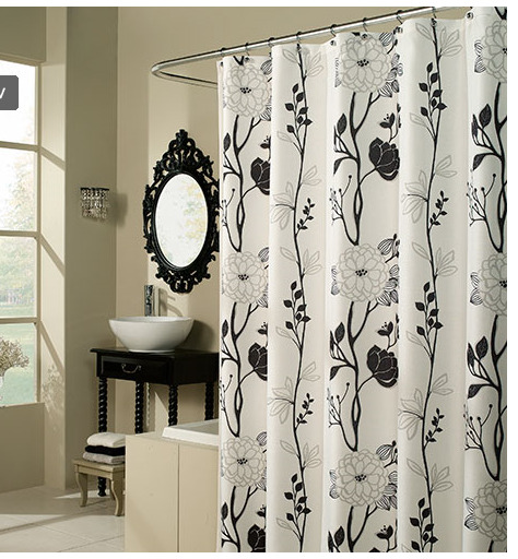 black and white flower fabric shower curtain ebay 22714