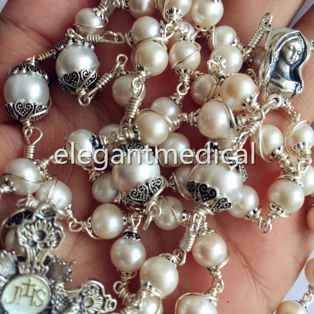 Pearl Beads: 3A White Pearl & Beads Bali 925 Sterling Silver Rosary