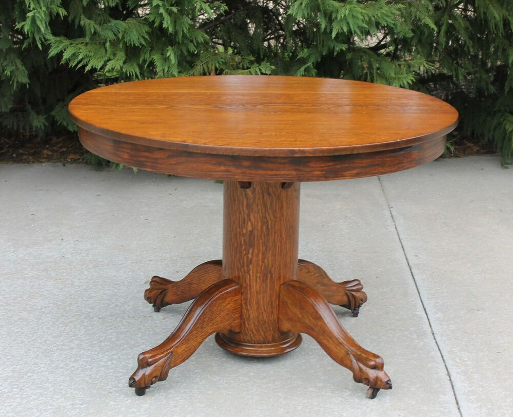 Fabulous antique 42 inch round solid oak claw feet dining for 42 dining table with leaf