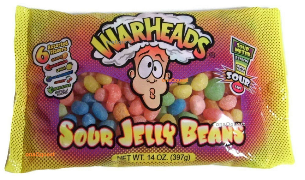 Warheads SOUR Jelly Beans 14oz Tart Tangy Assorted 6flavor