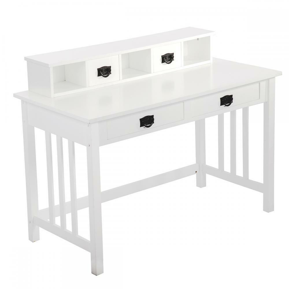 White Writing Contemporary Desk Home Office Furniture Wood