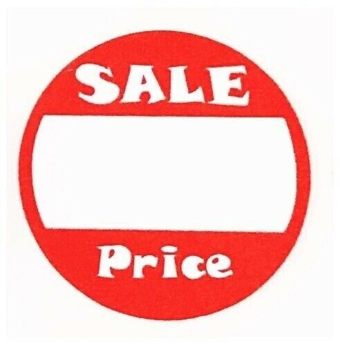 lot of 100 red   white adhesive labels marked sale price