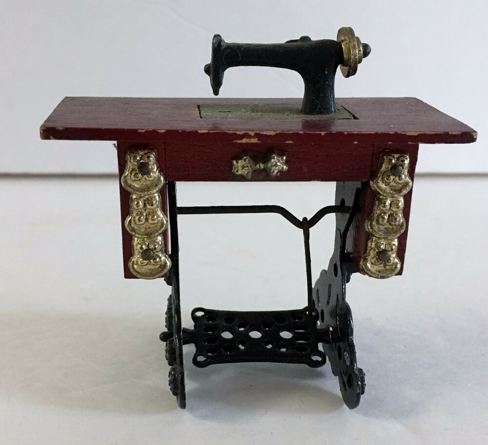 Vintage Wooden Furniture Dollhouse Miniature Wood Table Sewing Machine Ebay