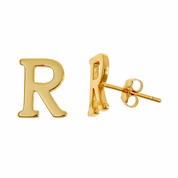 14k Yellow Gold Plated 925 Sterling Silver Block Letter