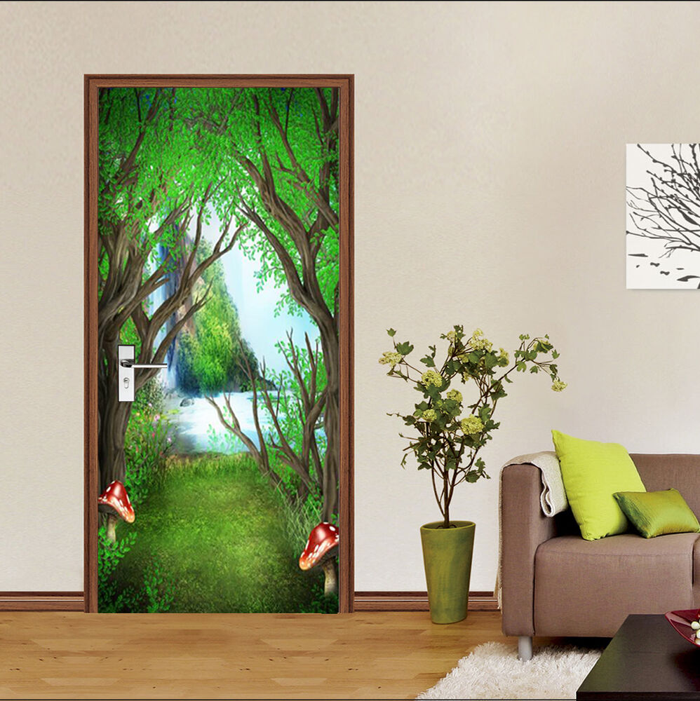 3d forest falls 97 door wall mural photo wall sticker for Door mural stickers