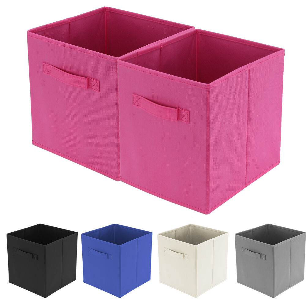 2x foldable square storage collapsible folding box clothes organizer fabric cube ebay. Black Bedroom Furniture Sets. Home Design Ideas