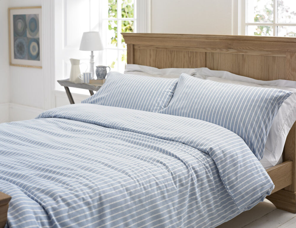 blue white stripe calgary flannelette brushed cotton. Black Bedroom Furniture Sets. Home Design Ideas