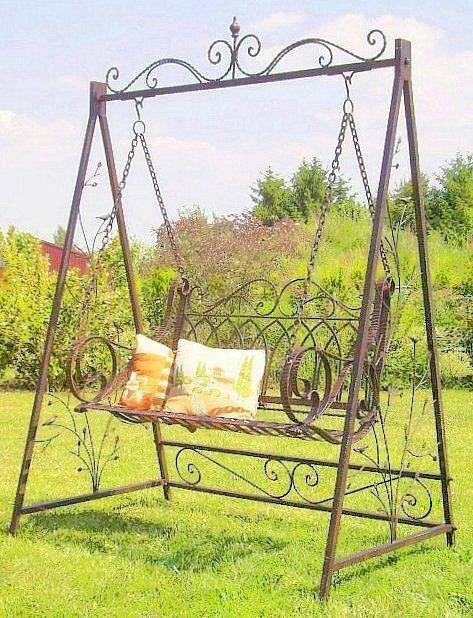 schaukel hollywoodschaukel 18688 mit ketten metall schmiedeeisen gartenschaukel ebay. Black Bedroom Furniture Sets. Home Design Ideas