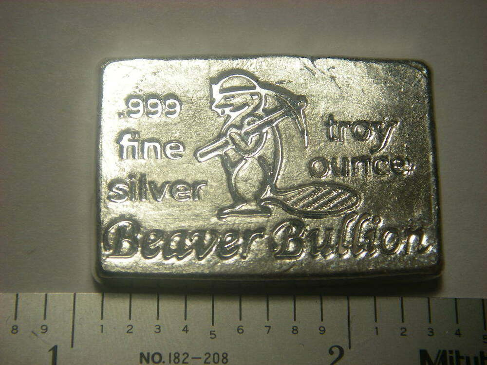 Beaver Bullion Hand Poured Canadian 1 Troy Ounce 999 Fine