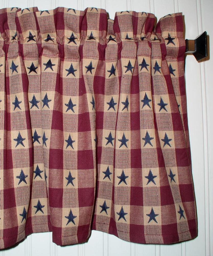 Navy Blue Stars On Berry Red Plaid Valance Primitive