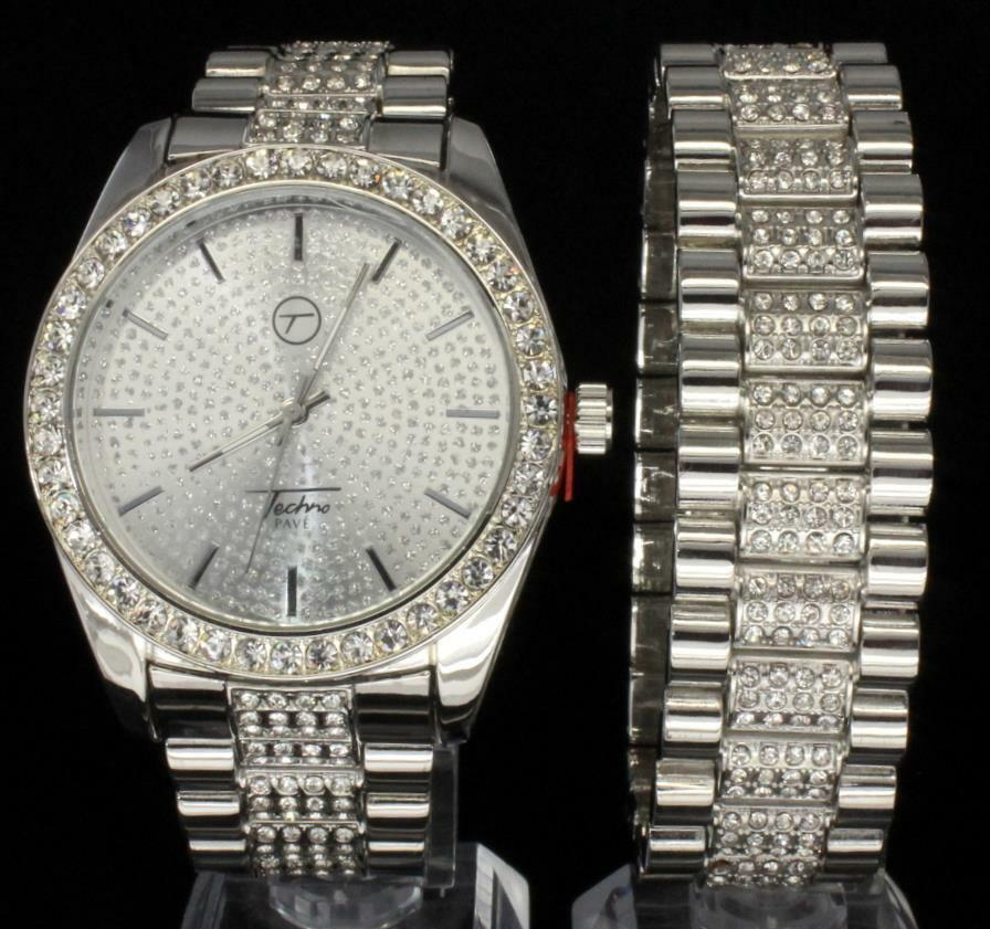 Imperial Bling Silver Tone Cz Icy Techno Pave Hip Hop Mens
