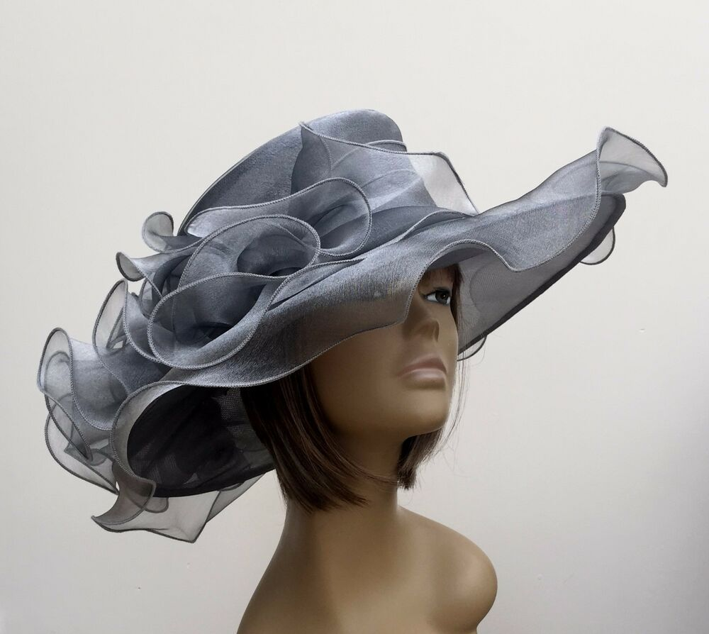 New Large Silver Grey Organza Brides Wedding Hat Mother Of