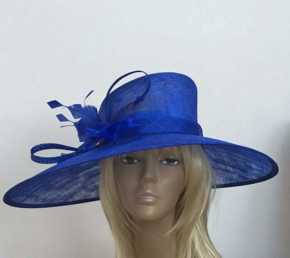 New Large Royal Blue Women's Sinamay Wedding Hat Mother Of