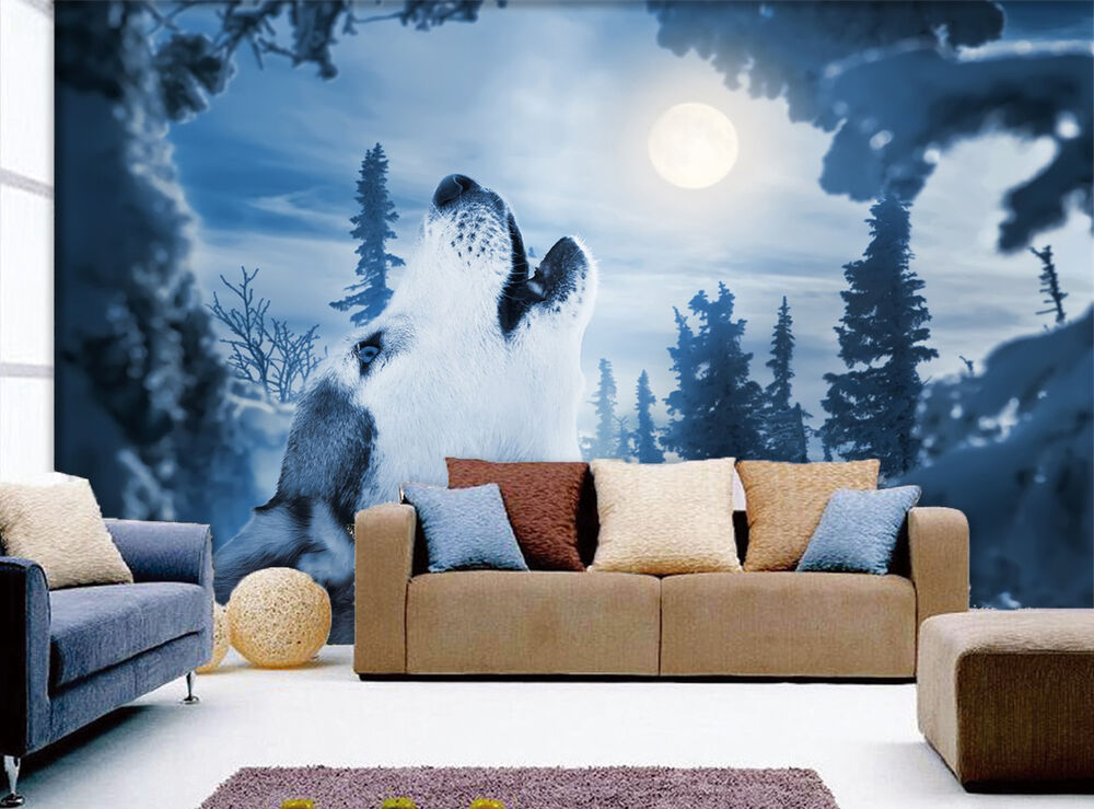 3D Howling Wolf 01 WallPaper Murals Wall Print Decal Wall
