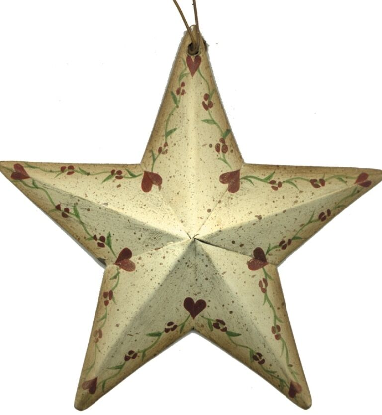 Rustic Primitive Country Metal Barn Star Hearts