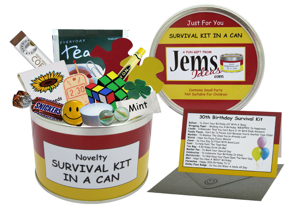Details About 30th BIRTHDAY SURVIVAL KIT IN A CAN Funny Happy Birthday Gift Card For Him Her