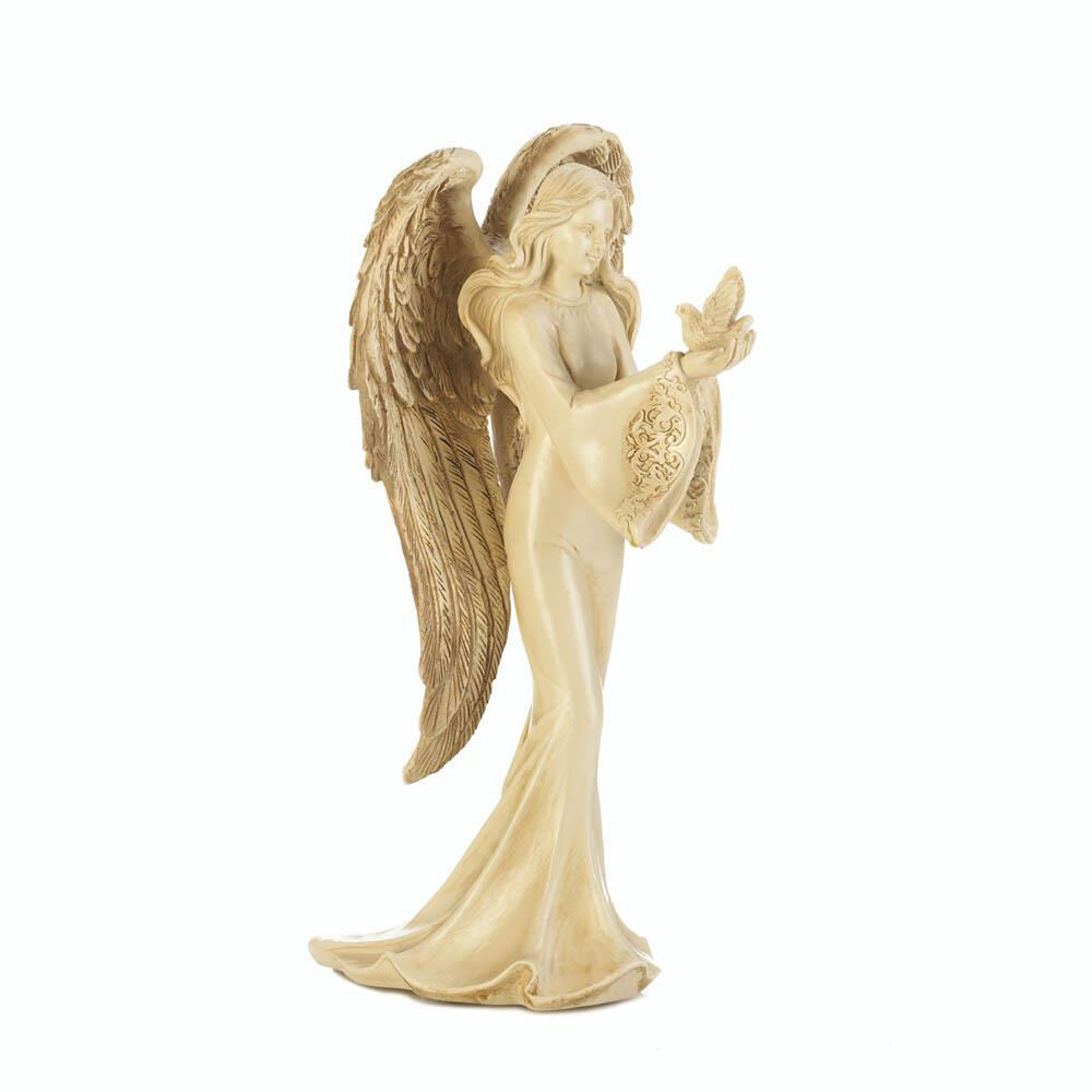 ANGELS: Beautiful Angel Carrying A Dove Peace Figurine 8