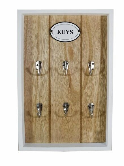 schl sselbrett keys aus holz weiss schl sselkasten schl sselboard 79179 ebay. Black Bedroom Furniture Sets. Home Design Ideas