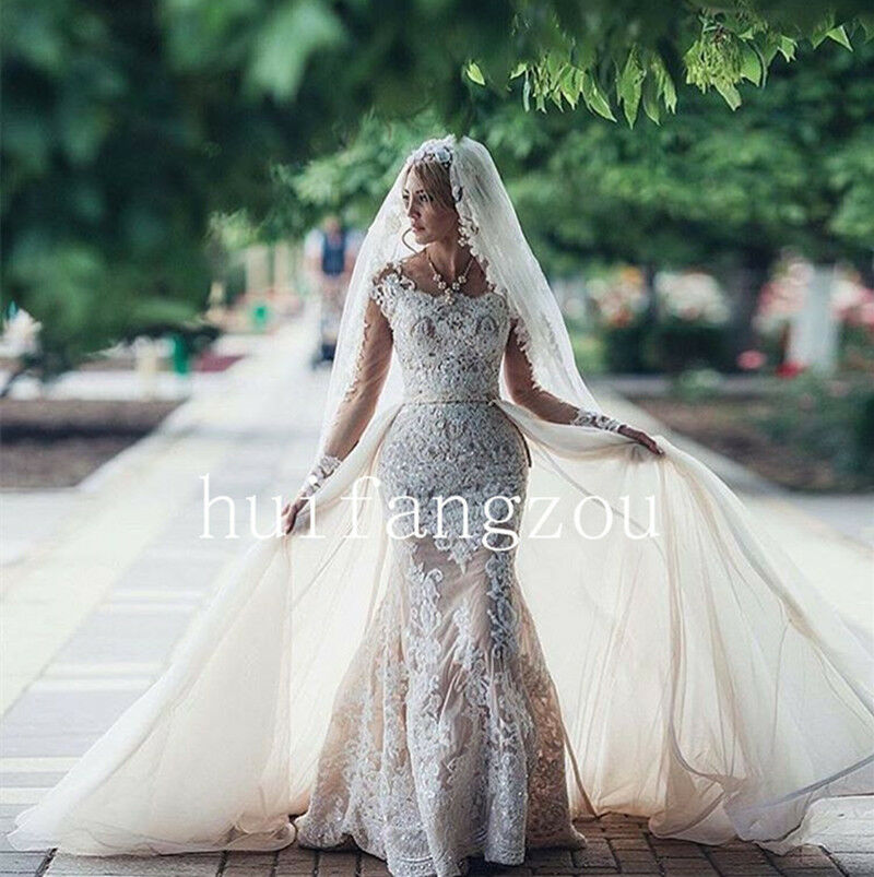 Wedding dresses formal bridal gowns removable train for Custom mermaid wedding dress