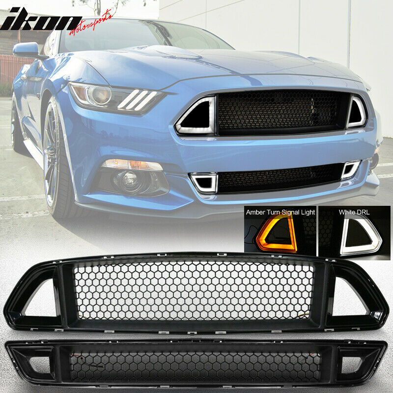 15 17 Ford Mustang Front Hood Upper Lower Mesh Grille