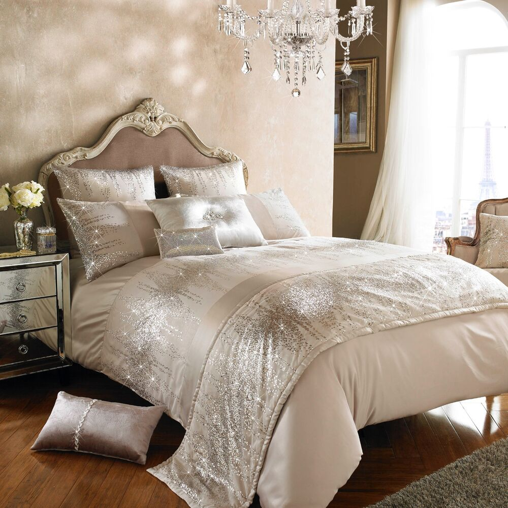 Kylie minogue jessa blush rose gold bedding set ebay for Black and white marble bedding