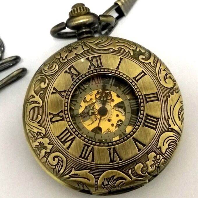 Antique Mechanical Pocket Watch Vintage Skeleton Steampunk ...