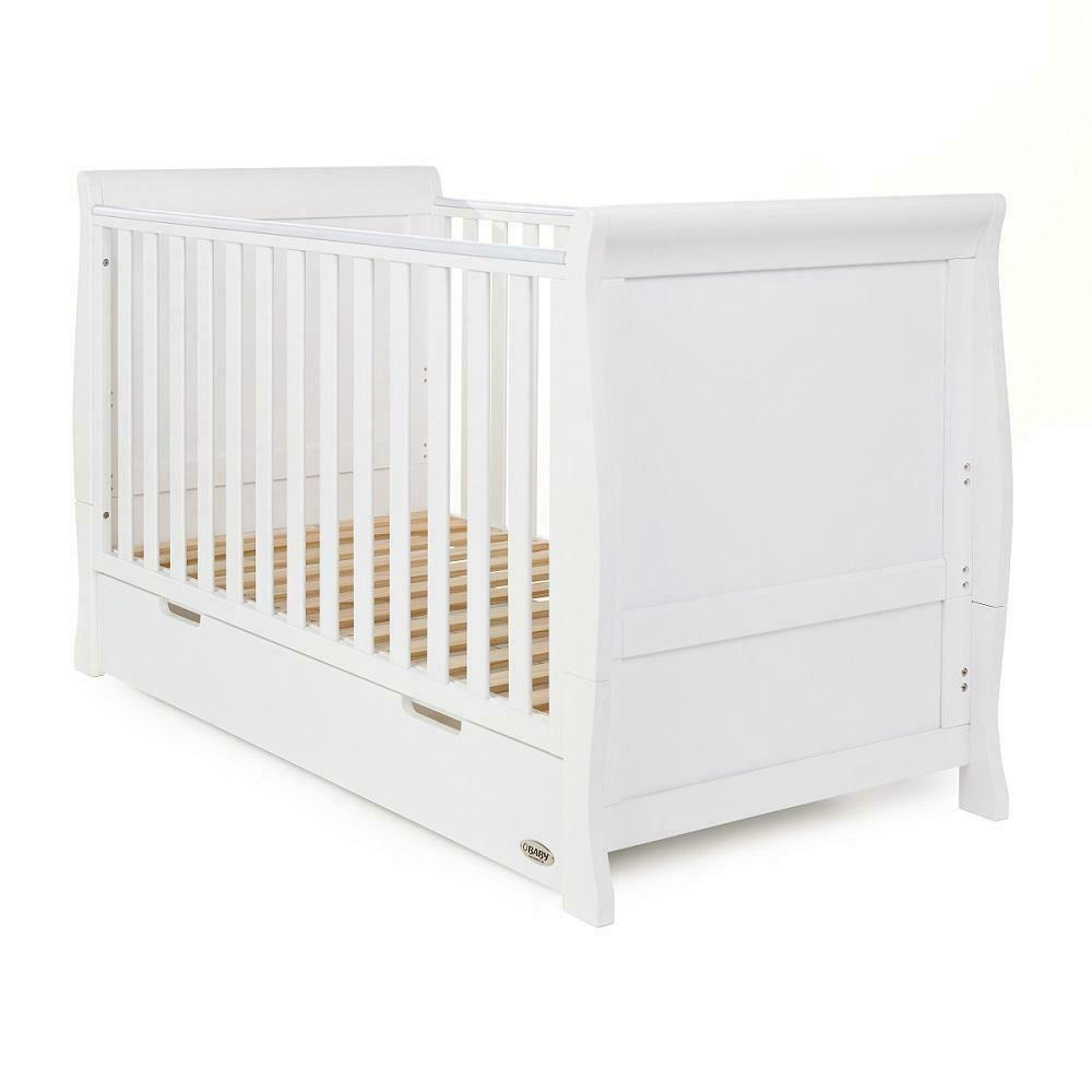 Obaby Stamford Sleigh Cot Bed With Drawer White Wooden Nursery Furniture Ebay