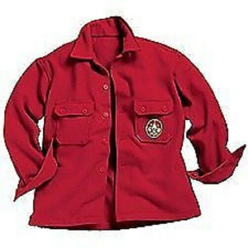 Boy scout official wool red jacket jac shirt mens sz 38 for Mens red wool shirt