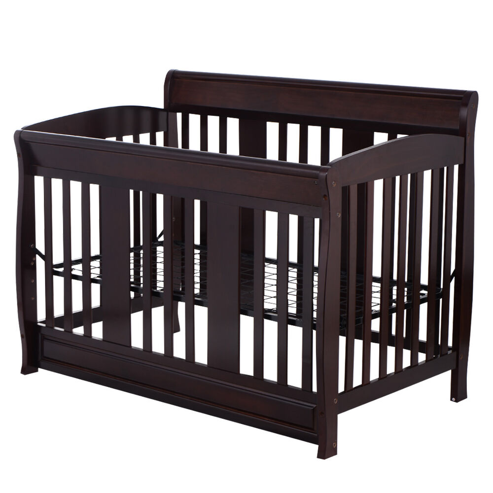 5 Cool Cribs That Convert To Full Beds: Baby Crib 4 In 1 Convertible Toddler Bed Daybed Full Size