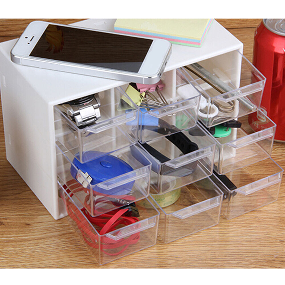 Storage Organizer Cabinet 9 Plastic Drawer Boxes Parts