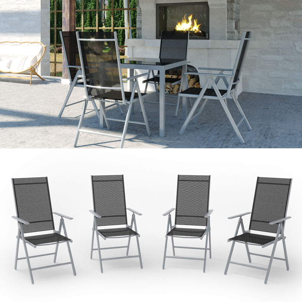 4er set alu gartenstuhl klappstuhl hochlehner campingstuhl aluminium liegestuhl ebay. Black Bedroom Furniture Sets. Home Design Ideas