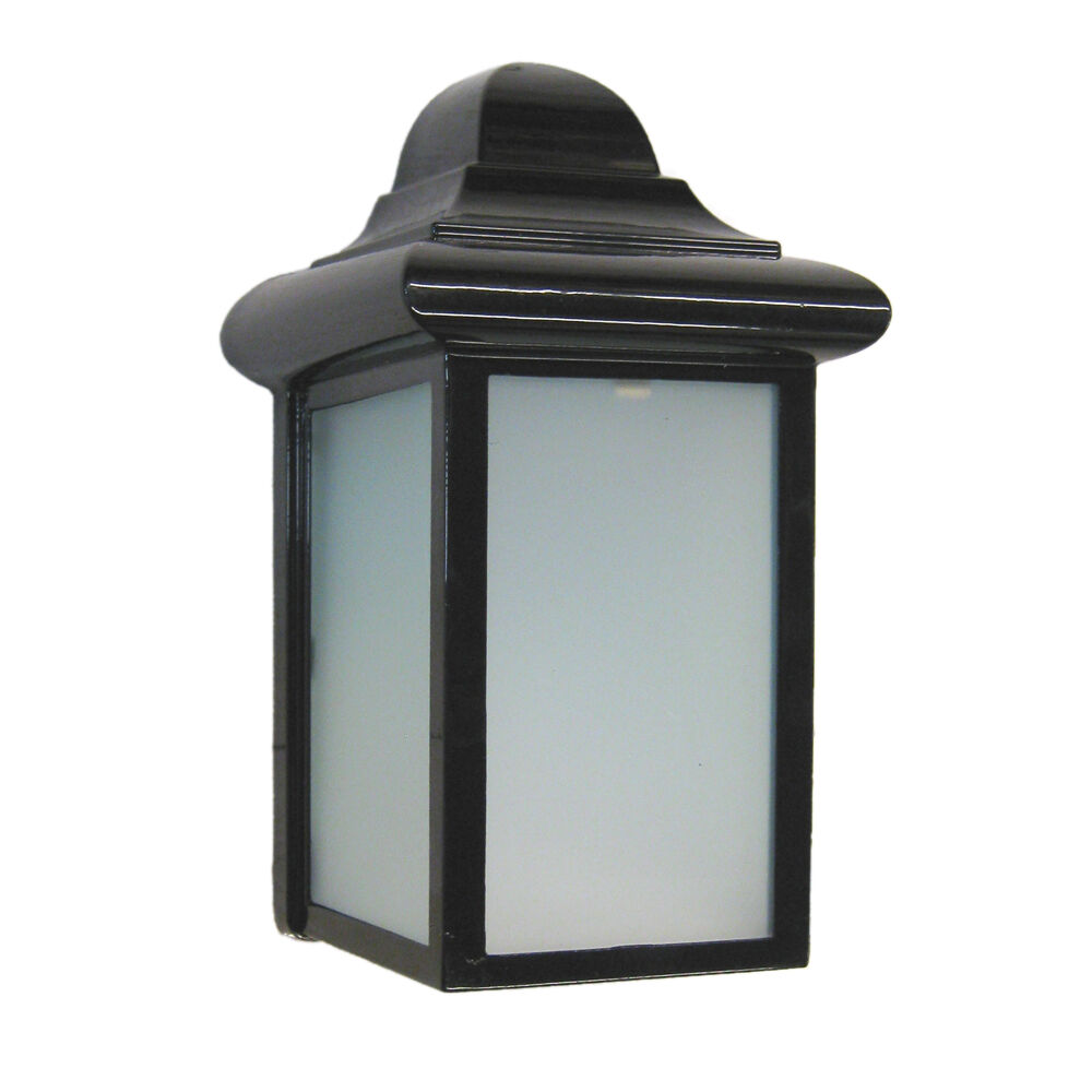 Black Exterior Wall Light With Frosted Glass eBay