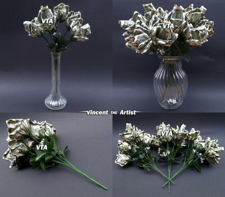 Beautiful Money Origami Roses Flowers Made Of Real Dollar Bills