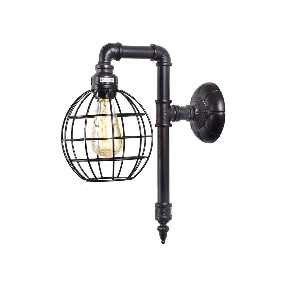Metal Shaped Wall Lights : Vintage Cage Shape Metal Pipe Wall Light Fixture Edison Wall Lamp Sconce eBay