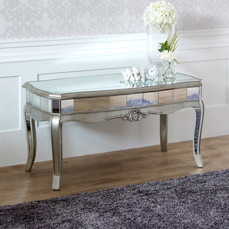 Grey mirrored glass wooden painted coffee side table for Mirror and wood coffee table