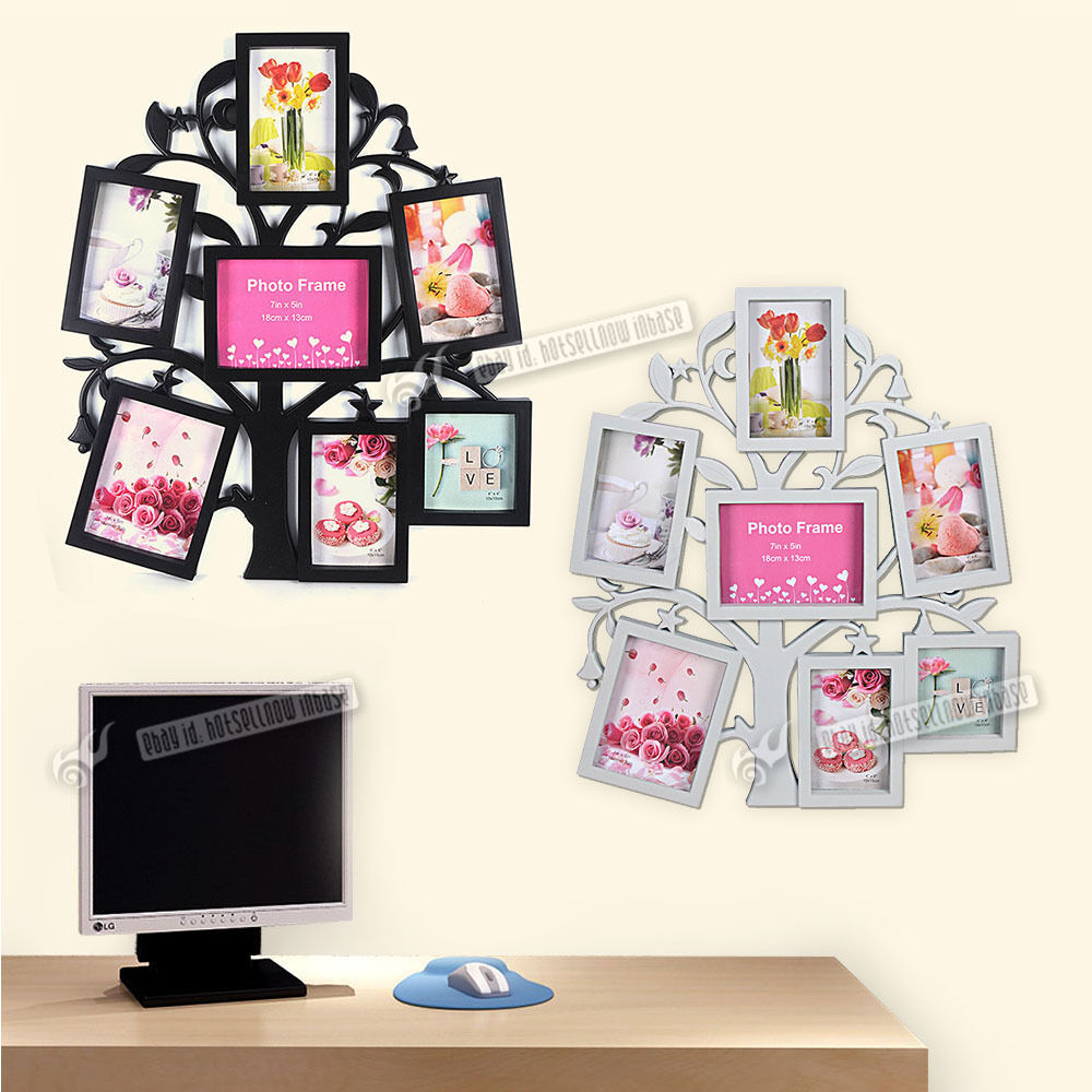 NEW 7 Piece Family Tree Wall Photo Frame Set Picture