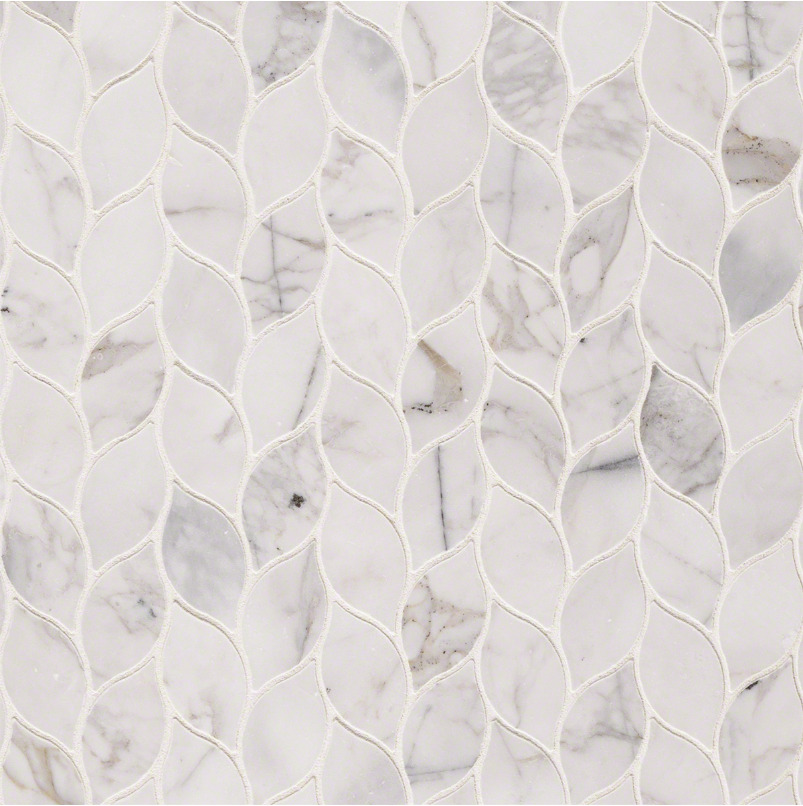 Msi calacatta blanco pattern polished marble mosaic tile for 12x12 floor tile designs