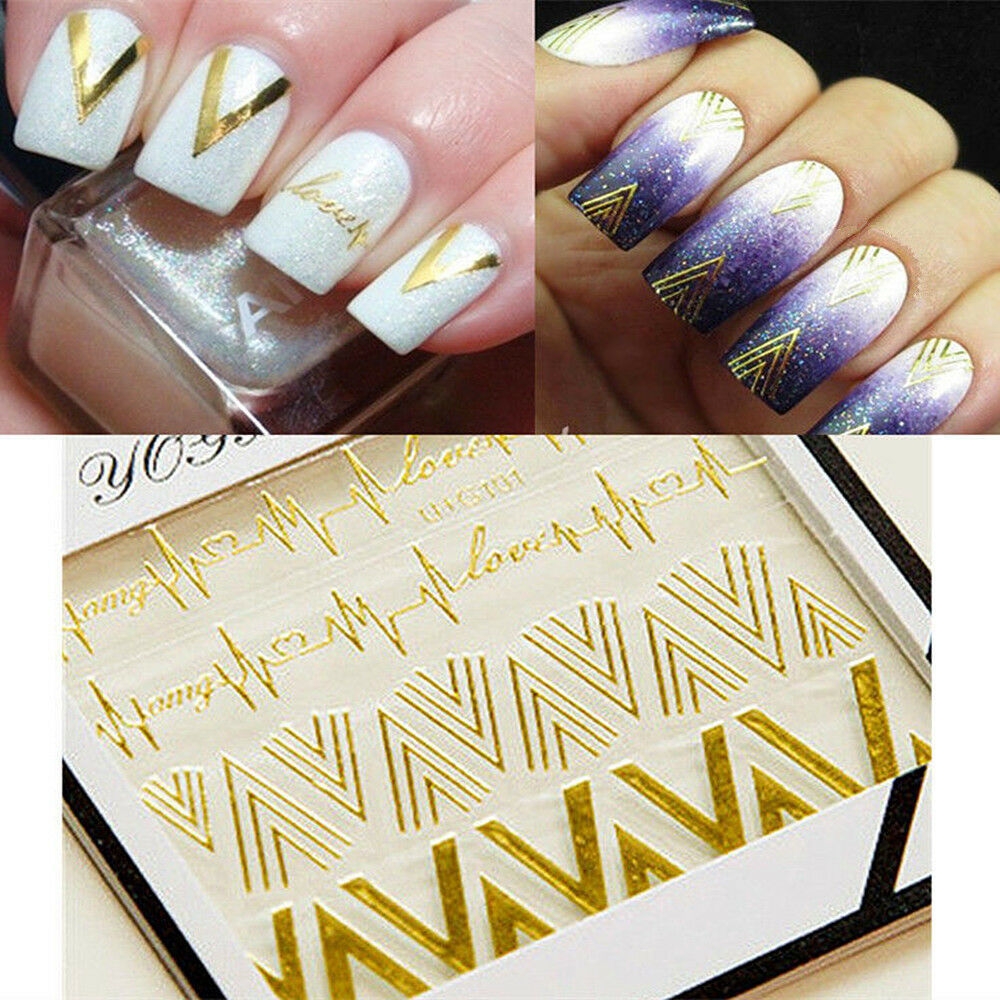 3d metallic gold nail art stickers v shape heartbeat charm for 3d nail decoration