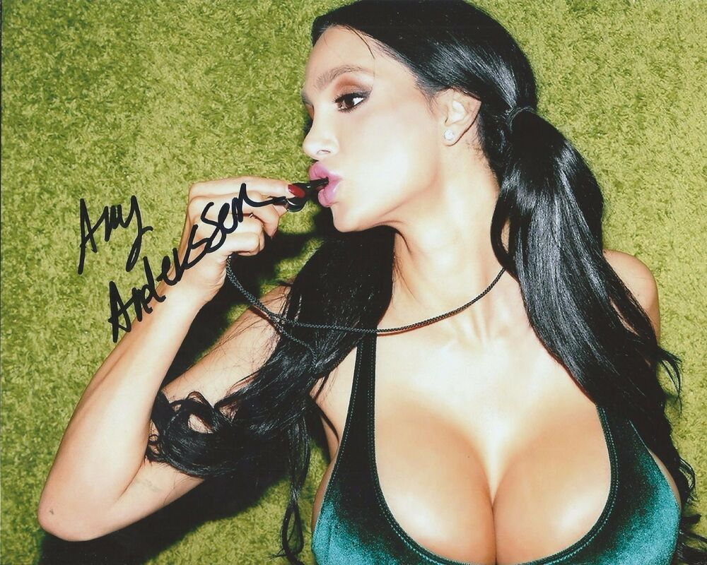 Amy Anderssen Blue Dress Pulled Up Adult Film Hand Signed