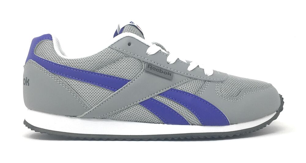 254b46bf49ea Details about Reebok Royal Flag Classic Jogger Girls Slim Retro Trainers  Silver Grey Violet
