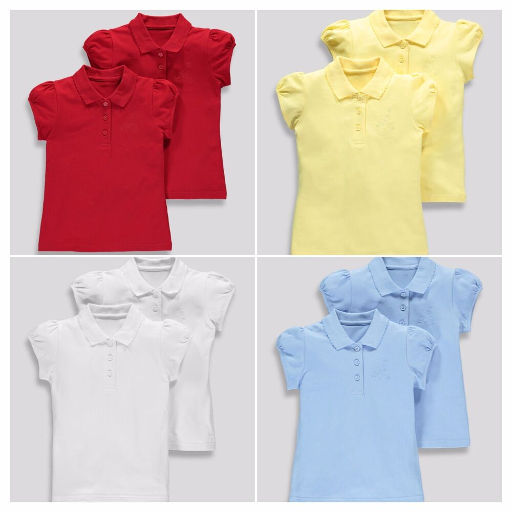 Girls 2 Pack 100 Cotton School Polo Shirts 3 16yrs Uniform Kids