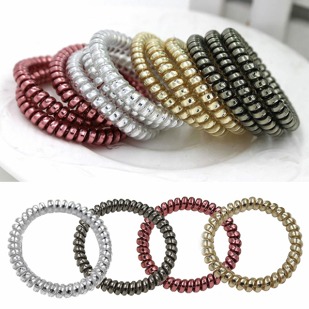 Wire Bands: 5pcs Gold/Silver Elastic Rubber Telephone Wire Hair Bands