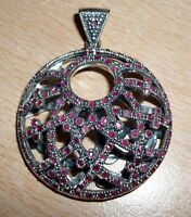 """925 STERLING SILVER  casual RED RUBY PENDANT 2 1/8"""" (HALLMARKED IN THE UK)"""