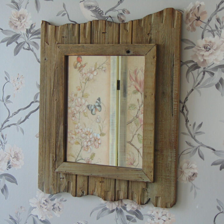 Wood driftwood style wall mirror shabby rustic chic nautical bathroom home decor ebay - Home decor wall mirrors collection ...