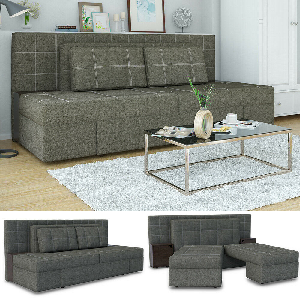 vicco schlafsofa mit bettfunktion 235 x 105 cm grau dreisitzer couch schlafcouch 4260486839938. Black Bedroom Furniture Sets. Home Design Ideas