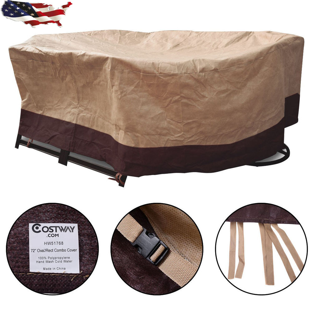 72 waterproof oval rect table cover outdoor garden patio for Oval patio set cover