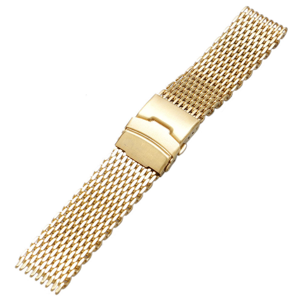 Wire Bands: 18/20/22/24mm Yellow Gold Stainless Steel Mesh Metal