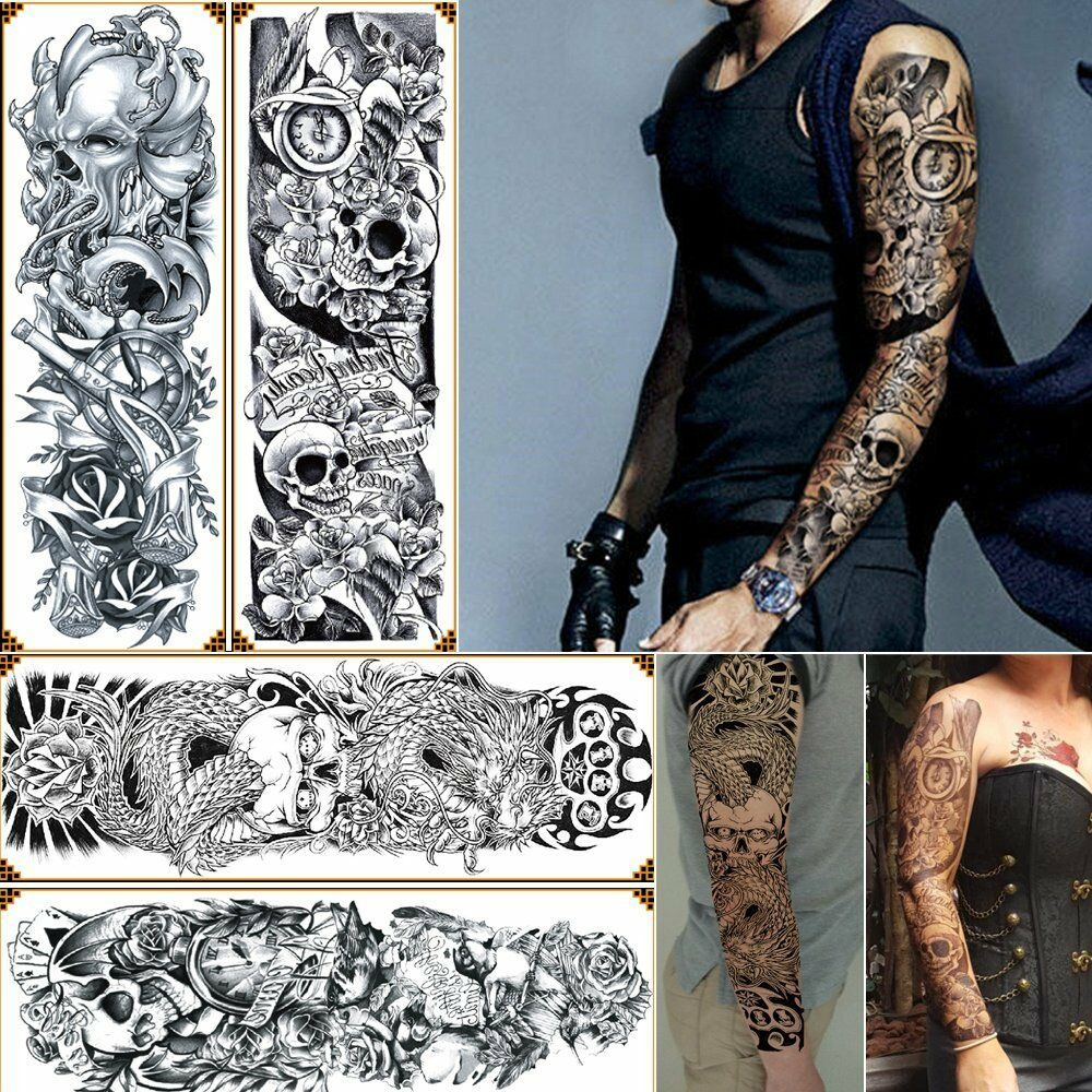 Long Sleeve Tattoo Sleeve For Black Men: 4-Sheet Temporary Tattoos Big Body Arm Tattoo Sticker Long