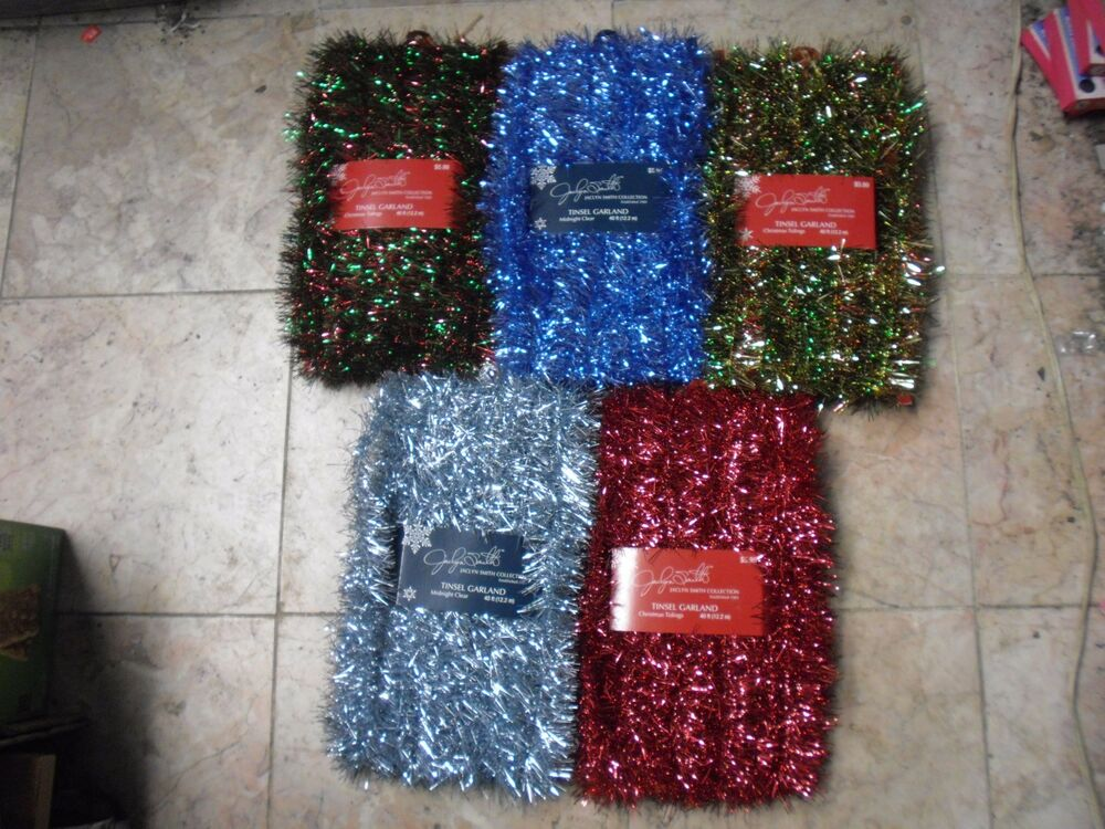 Ft tinsel garland christmas holiday decoration red gold