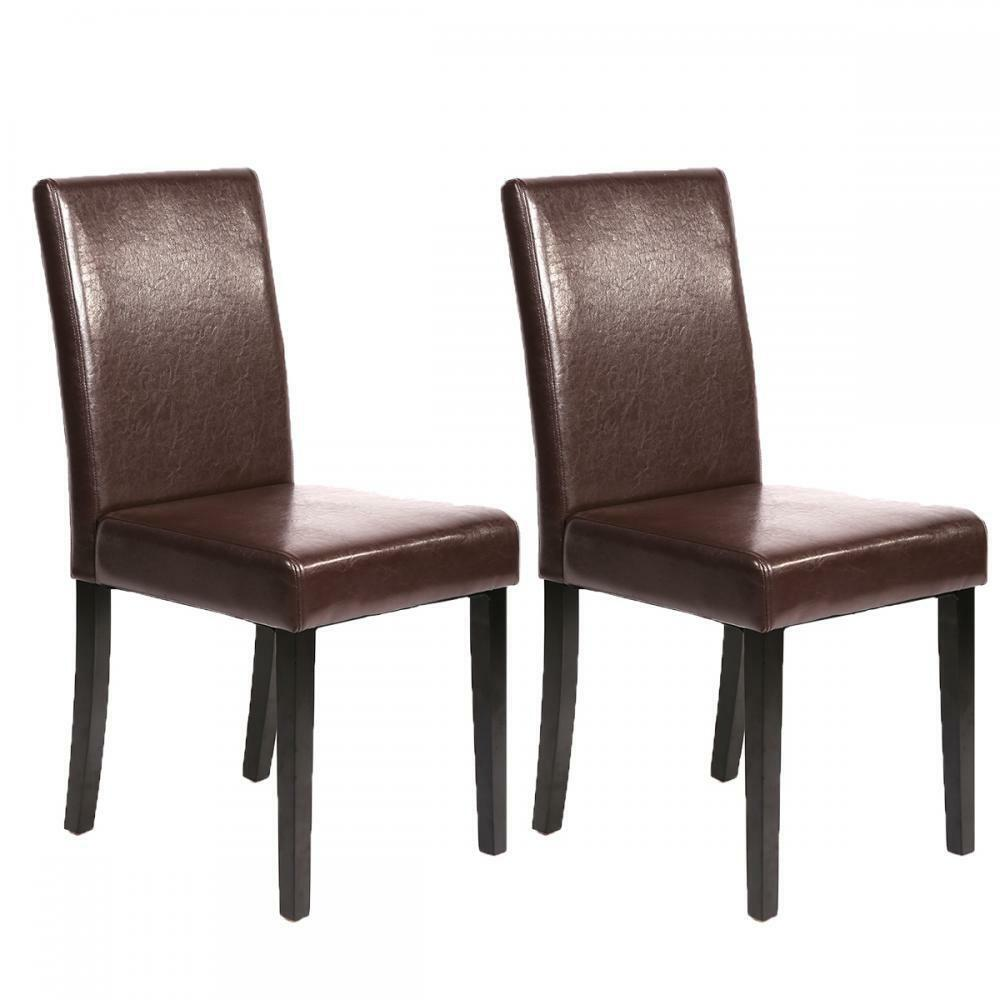 Set Of 2 Dining Room Furniture Brown Leather Dining: Set Of 2 Brown Leather Contemporary Elegant Design Dining